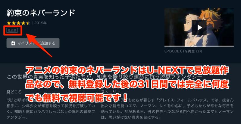 アニメの約束のネバーランドはU-NEXTで無料視聴可能!